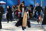 Jayne Min at Jeremy Laing in a Céline coat, Saint Laurent bag