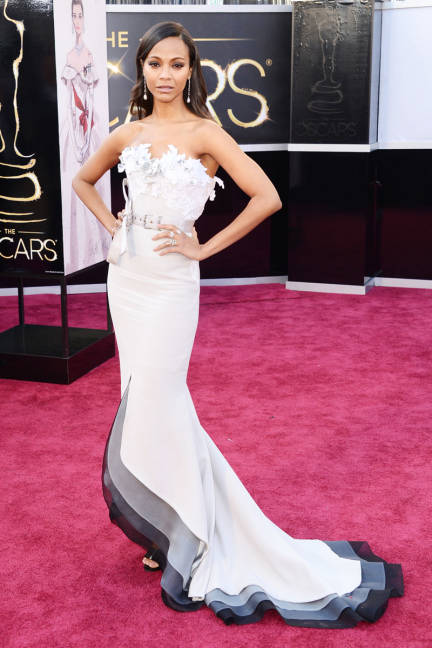 Zoe Saldana was a breathe of fresh air on the red carpet (minus that belt) in her unique Alexis Mabille gown with ruffled top and mult-colored hem.