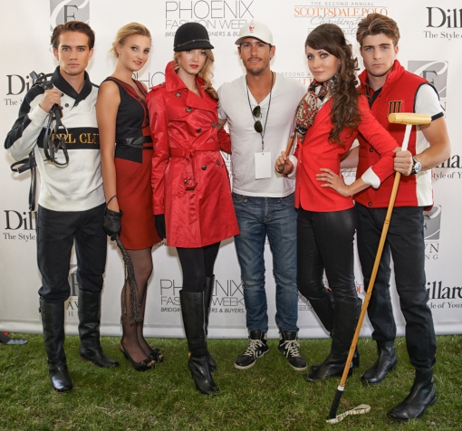 Models with Polo Party champion and model Nic Roldan